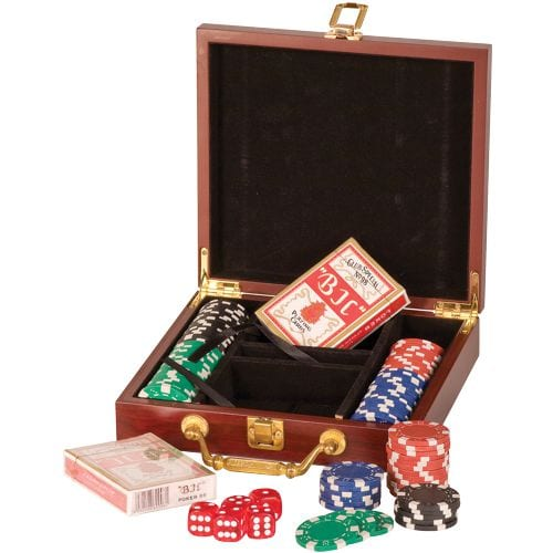 Personalized Poker Set in Rosewood Box