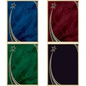 plaque plates, blue, red, green, black