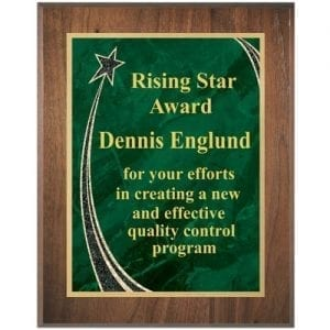 Rising Star Walnut Plaque