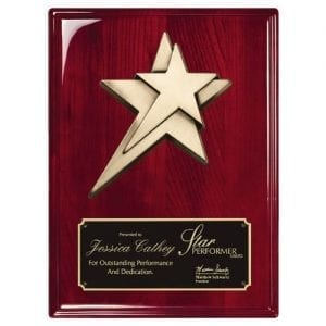Rosewood Plaque with Star Casting