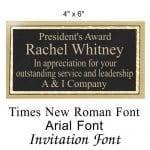 Engraved Award Plate