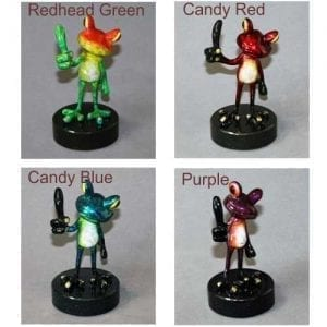 redhead green, candy red, candy blue, purple