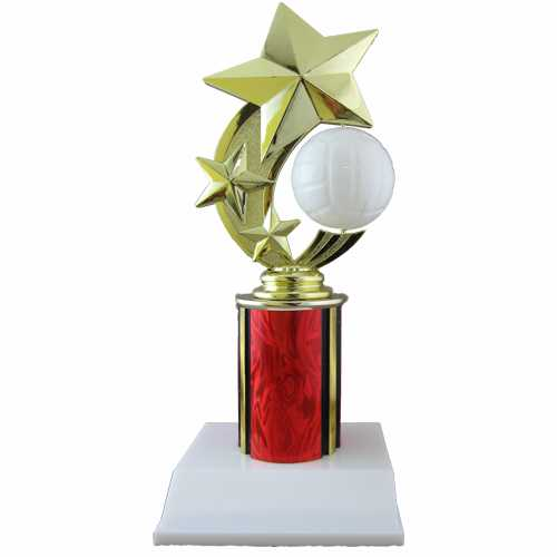 3 Star Volleyball Trophy with Column