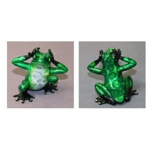 "Bronze Frog Figure ""See No Evil"" more views"