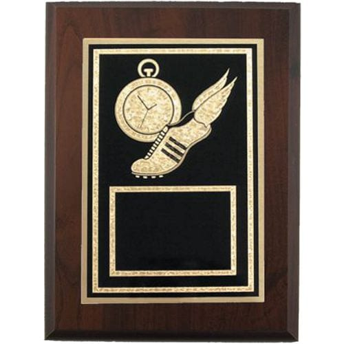 Track Plaque Award with Winged Shoe