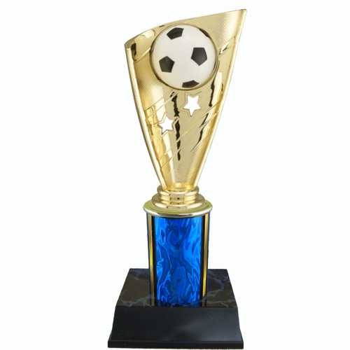 Soccer Trophy with Banner on Column