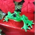 Alysa Bronze Frog Figure Green