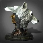 Indian and Wolf Head Statue